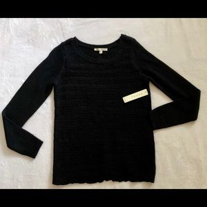 Cyrus NWT black cotton open weave sweater
